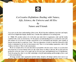 Co-Creative Definitions Dealing with Nature, Life, Science, the Universe and All Else